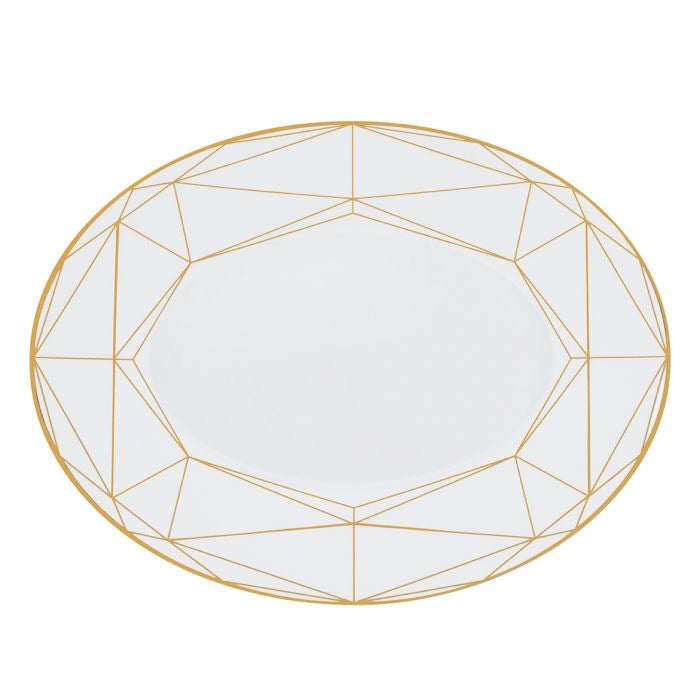 "Gem Cut Gold 16"" Deep Oval Platter"