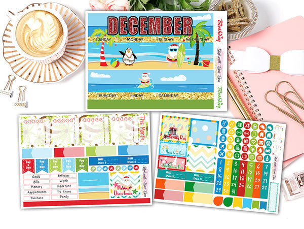 Summer Christmas - Monthly View Stickers