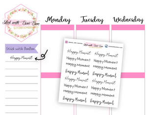 """Happy Moment"" Script stickers"