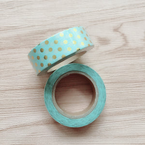 Gold Foiled Dots Washi Tape - Robin Egg