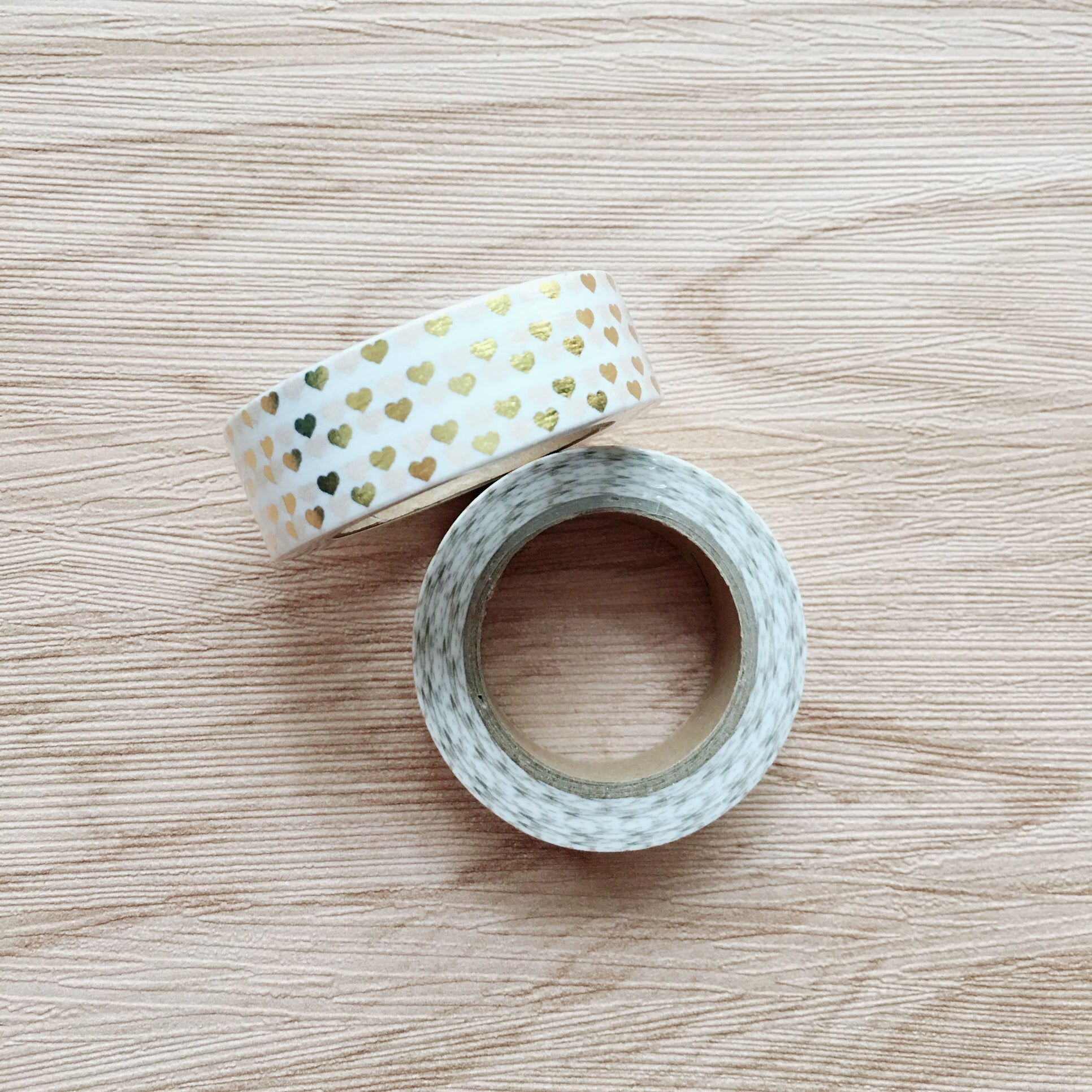 Rose Gold Foiled Heart Washi Tape - White