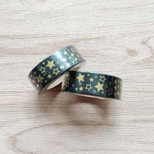 Gold Foiled Stars Washi Tape - black
