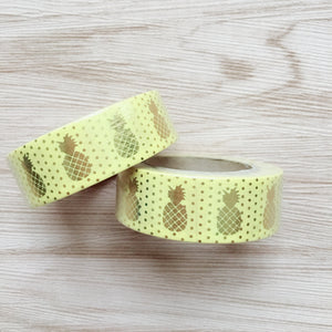 Gold Foiled Pineapple Washi Tape - Yellow