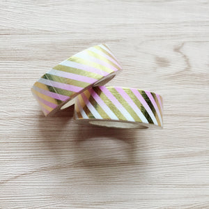 Gold Foiled Strips Washi Tape - Ombre Pink