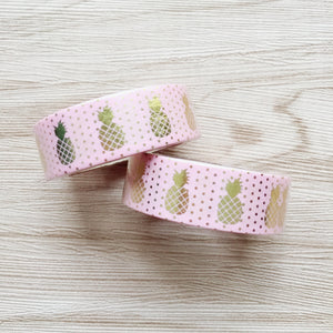 Gold Foiled Pineapple Washi Tape - Pink