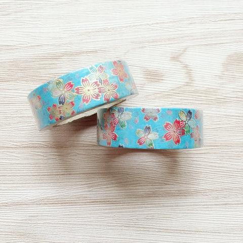 Gold Foiled Floral Washi Tape - blue background