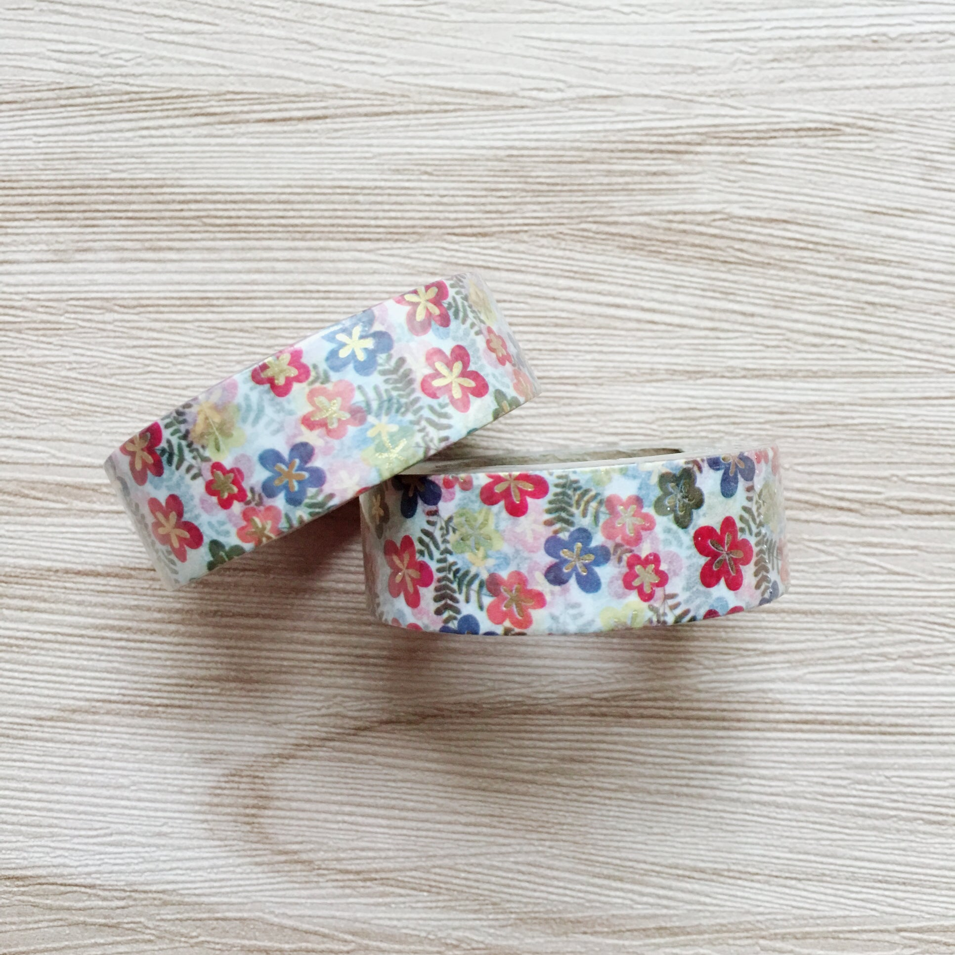 Gold Foiled Floral Washi Tape - white background