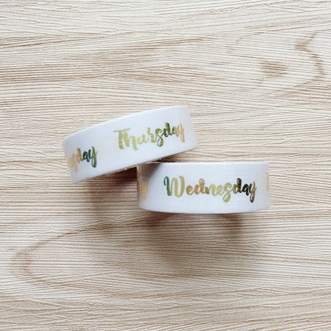 Gold Foiled week day Washi Tape