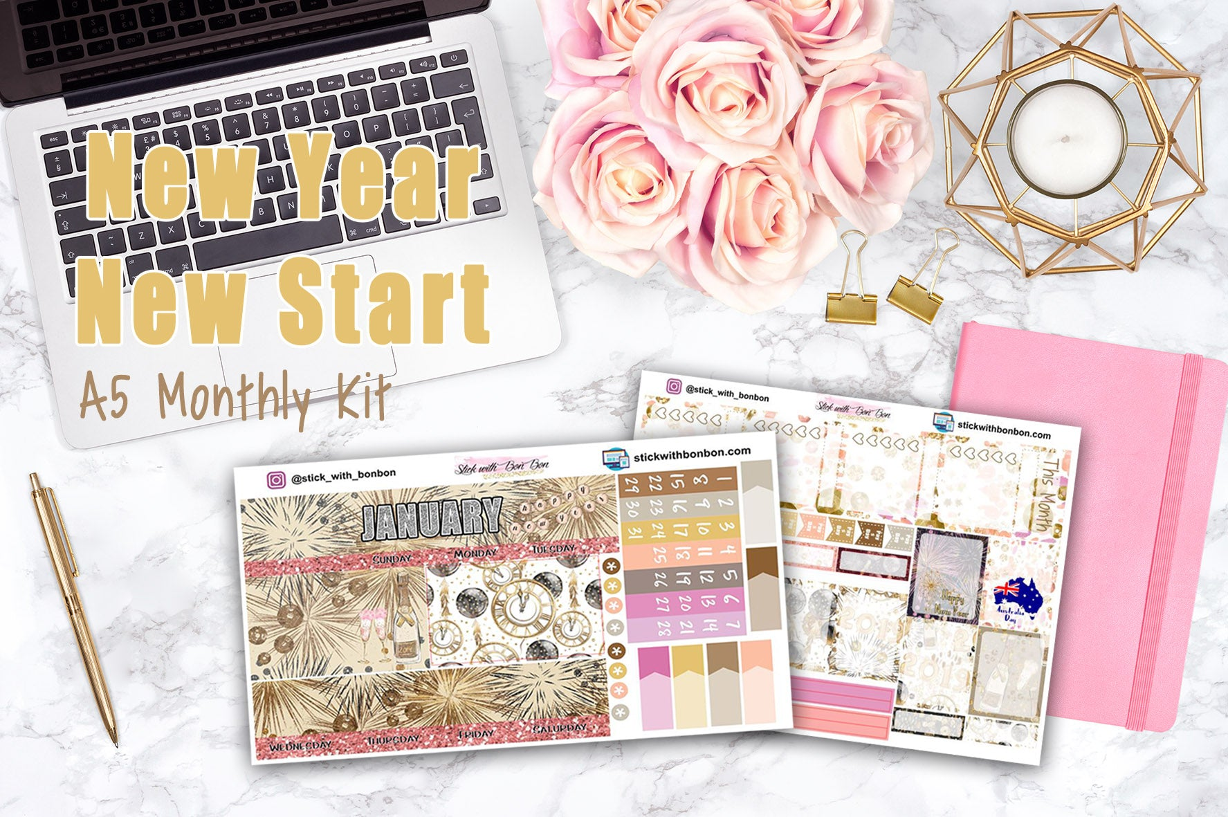 New Year - A5 Monthly View Stickers