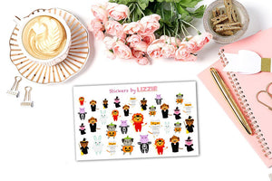 Halloween Dress-up Animals Stickers