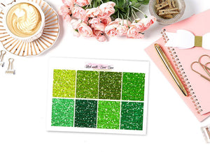 Glitter Header Stickers - GREEN