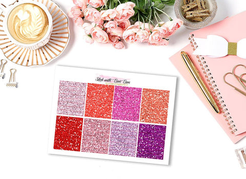 Glitter Header Stickers - RED/PURPLE
