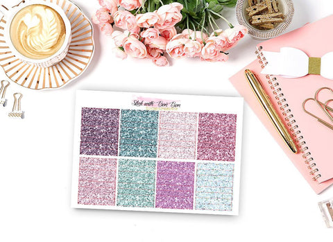 Glitter Header Stickers - LAVENDER