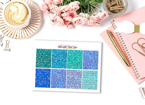 Glitter Header Stickers - BLUE