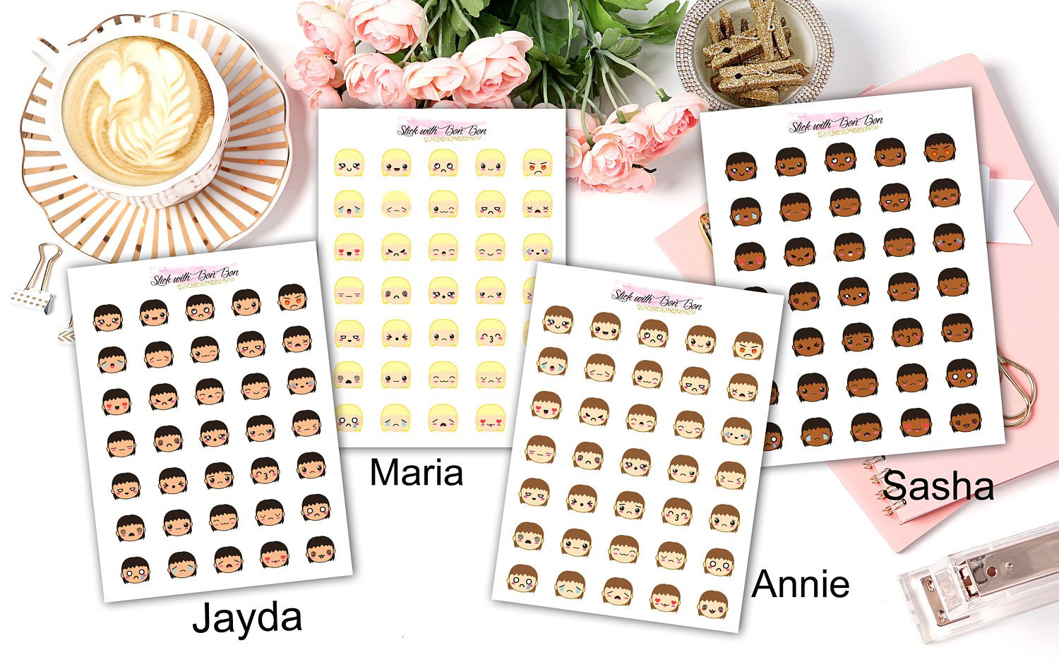 Kawaii Emoji Girl Stickers