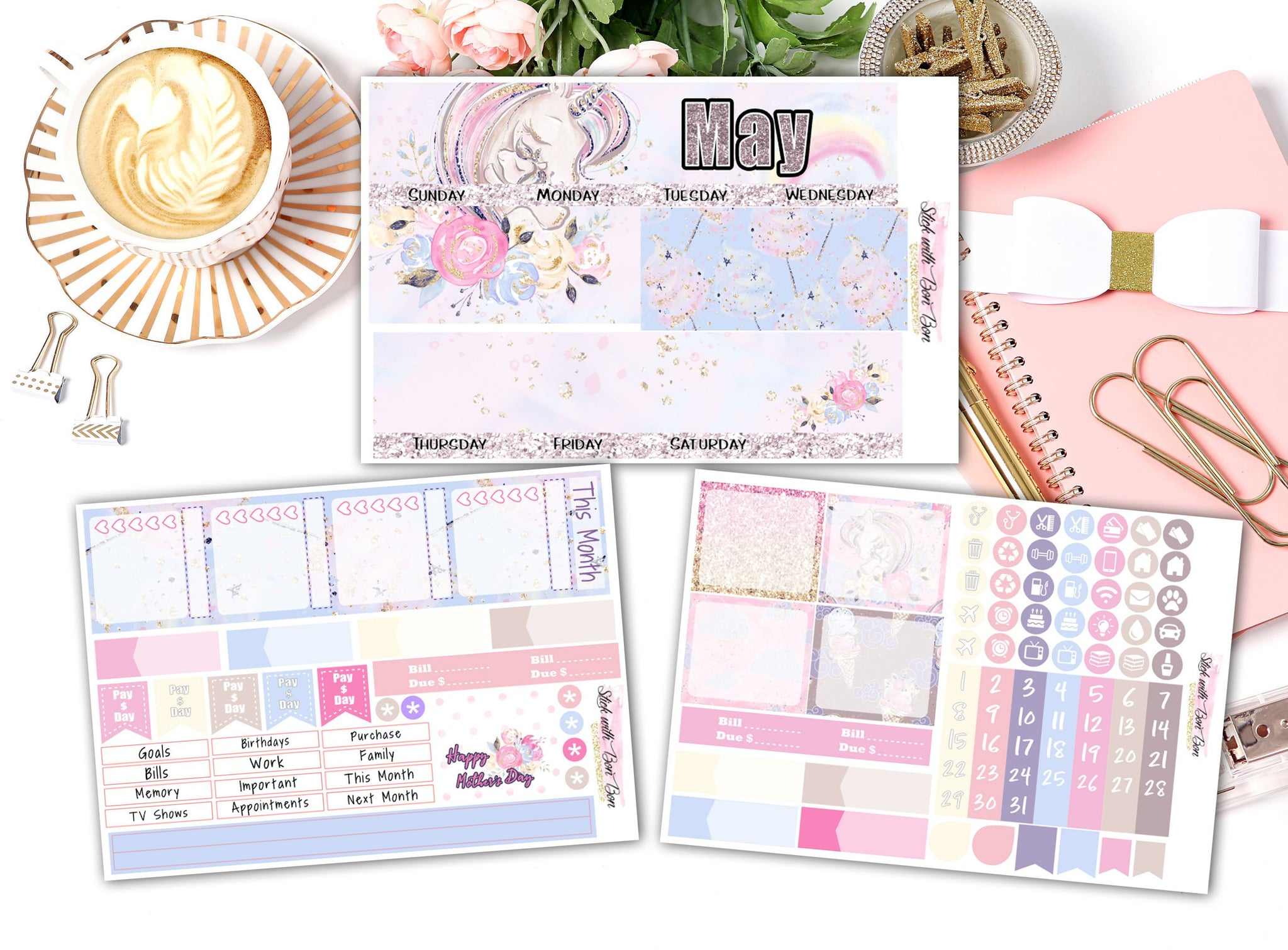 Unicorn Love - Monthly View Stickers