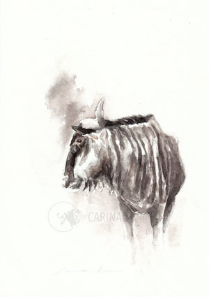 Blue Wildebeest - Sketch for Wildlife - Carina Kramer - Fine Art, Original Painting, Wildlife Art/ Animal Painting