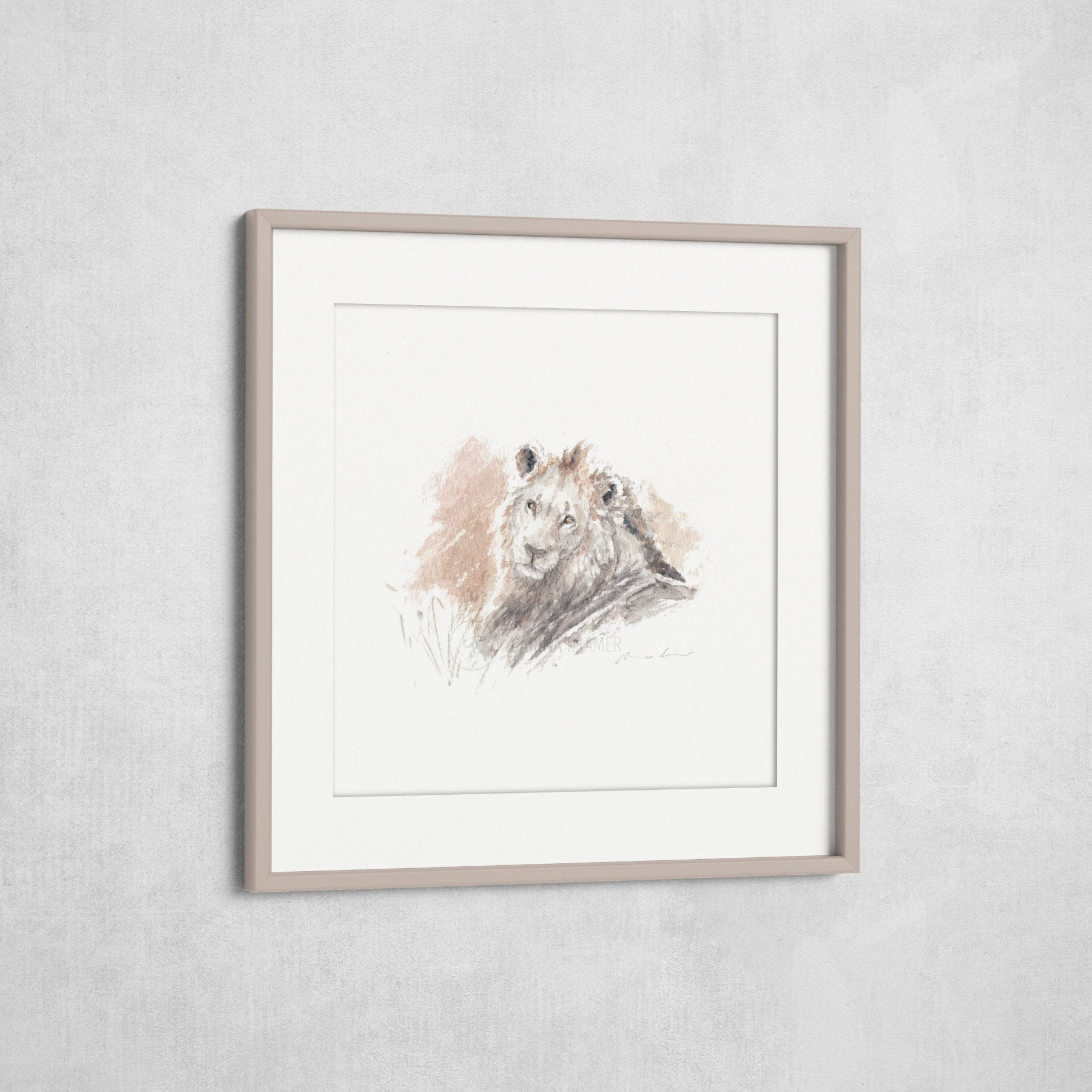 Male Lion 1 - Fine-Art Print (Square) - Carina Kramer - Fine Art, Fine Art Print, Wildlife Art/ Animal Painting