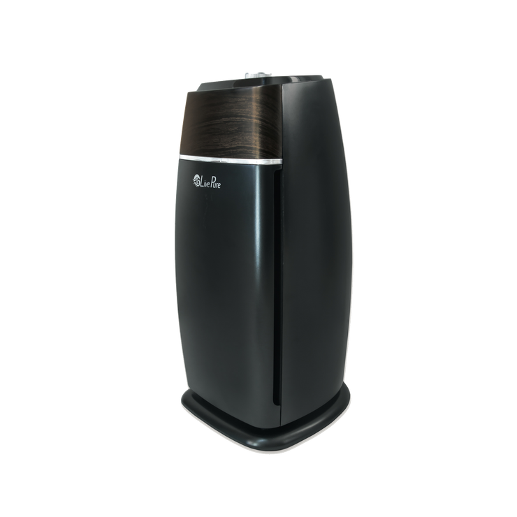 LivePure Sierra Series Medium Tower Air Purifier, True HEPA Filter, Small Room 100 Square Feet, Mahogany and Slate Black