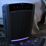 LivePure Bali Series Air Purifier in Bedroom with Night Light