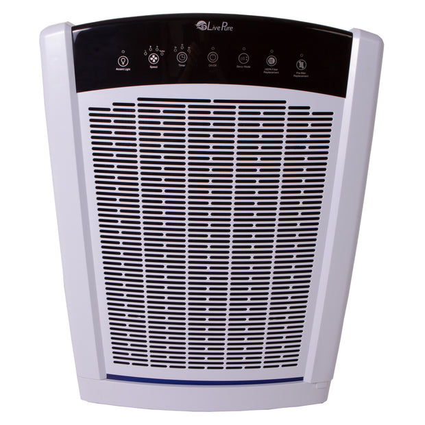 LivePure Bali Series Air Purifier LP550TH, True HEPA Filter, Multi Room Whole Home Capacity, Pearl White