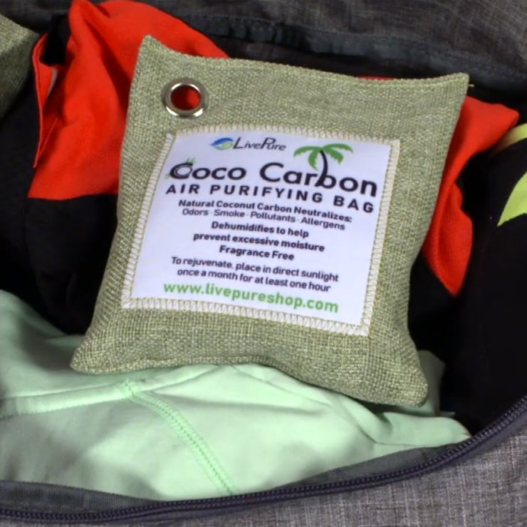 LivePure CocoCarbon Air Purifying Bag Inserted in Smelly Gym Bag
