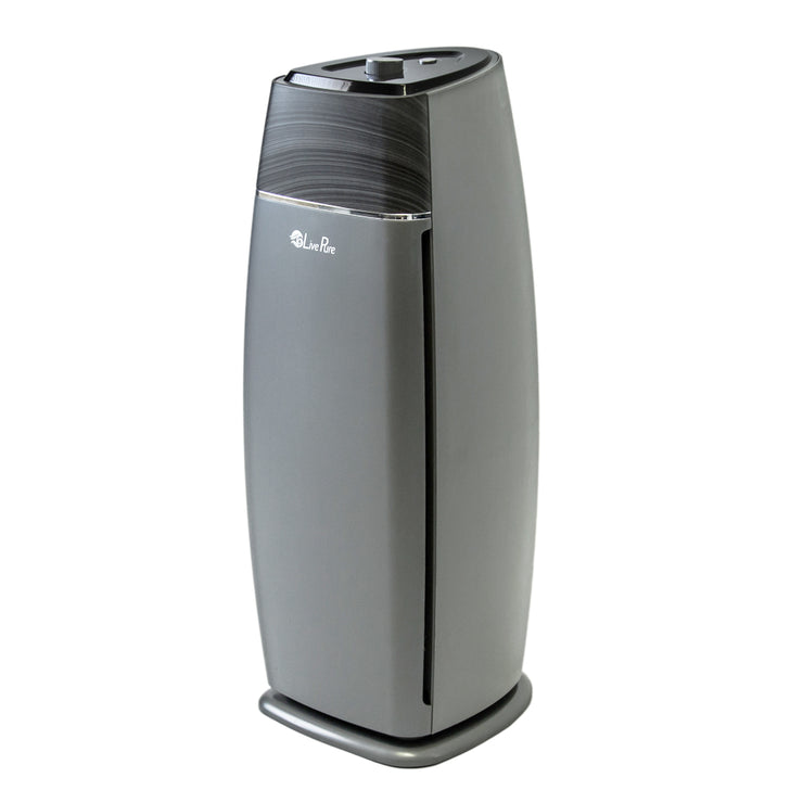 LivePure Sierra Series Tall Tower Air Purifier, True HEPA Filter, 200 square foot room, Graphite