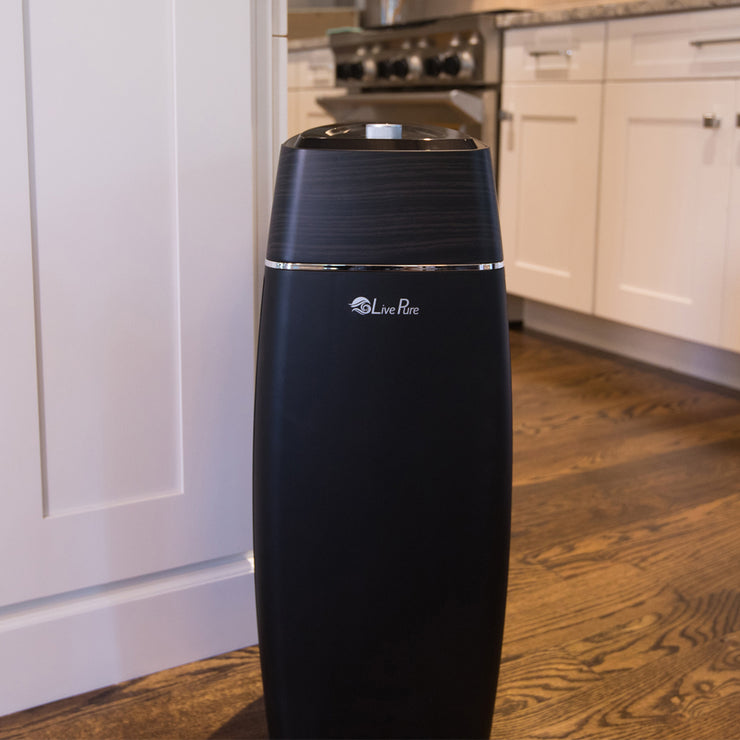 LivePure Sierra Series Tall Tower Air Purifier Sitting on Hardwood Floor in Kitchen
