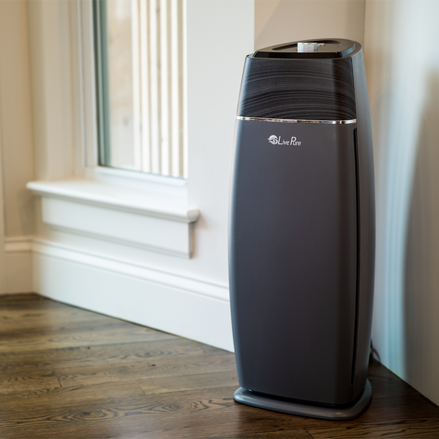 LivePure Sierra Series Air Purifier Sitting on Hardwood Floor in Home