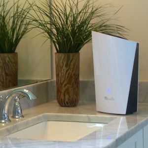 LivePure Ultrasonic Cool Mist Tabletop Humidifer LP450HUM Sitting on Bathroom Countertop
