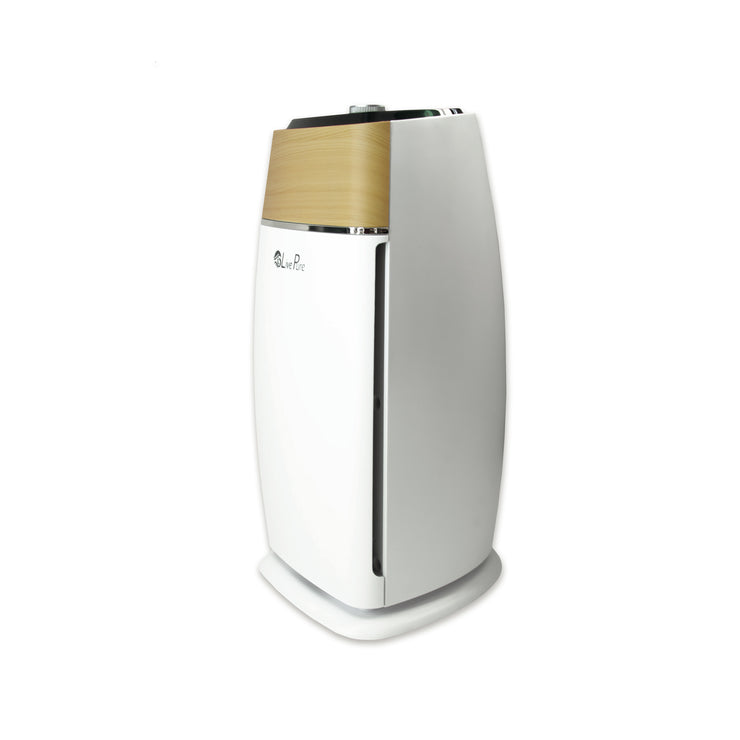 LivePure Sierra Series Medium Tower Air Purifier, True HEPA Filter, Small Room 100 Square Feet, Teak and Pearl White