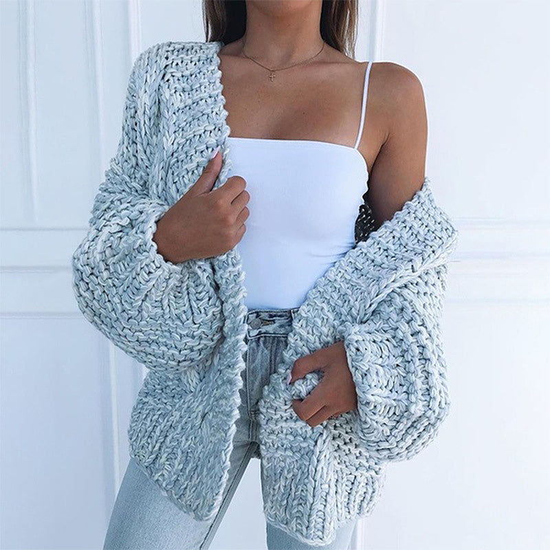 Hot Sales Solid Color Knitted Comfy Sweater Cardigan