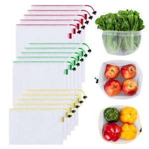 12 PC Reusable Washable See-Through Mesh Eco-Friendly Produce Bags