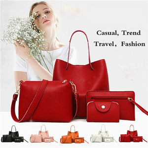 2020 New Women 4 Pcs / 1 Set Leather Handbag