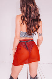 Red Hot Mesh Skirt