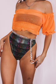 Orange Wave Mesh Top