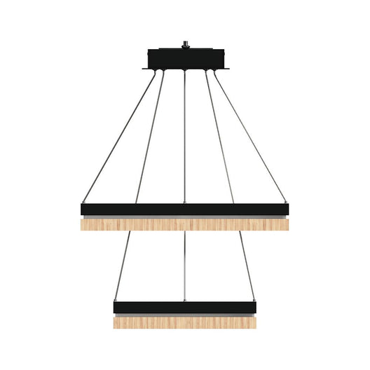 LED Pendant Light Fixture, Double Ring, Square, Dimmable, 3000K (Warm White), Wood and Matte Black (P1221-6S)
