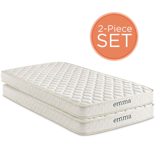 "Emma 6"" Twin Mattress Foam Set of 2 in White with 10 Years Warranty"