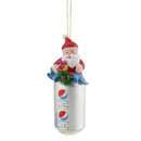 "Load image into Gallery viewer, 4.75"" Silver ""Ho Ho"" Diet Pepsi Can With Santa Topper Decorative Glass Christmas Ornament"