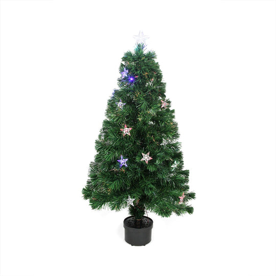 "4"" Pre-Lit LED Fiber Optic Artificial Christmas Tree With Color Changing Stars"