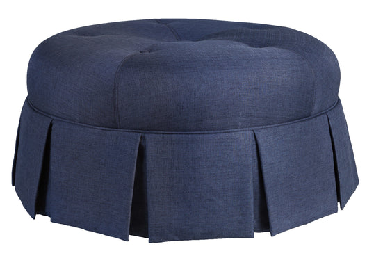 Ava Round Pleated Patterned Upholstered Tufted Button Ottoman In Dark Blue
