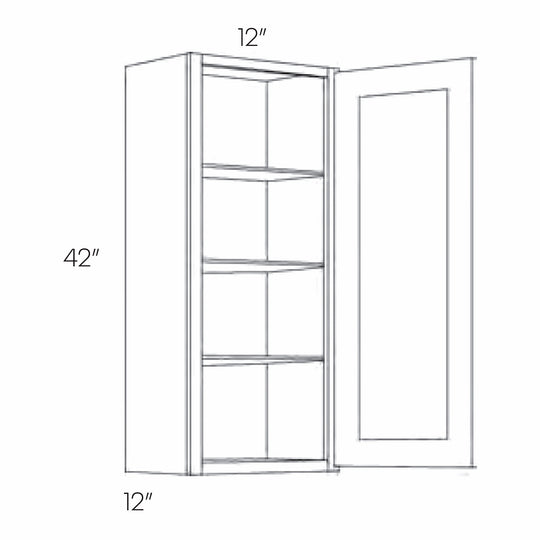 12 X 42 Inch High 1 Door Luxor Smoky Grey Ready To Assemble Wall Cabinet
