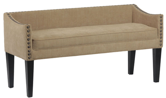 Upholstered Wooden Whitney Long Bench With Arms And Nailheads In Bomber Jacket Pinto