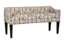 Load image into Gallery viewer, Upholstered Whitney Long Bench With Arms And Nailheads Trim In Paint Strokes Hydrangea