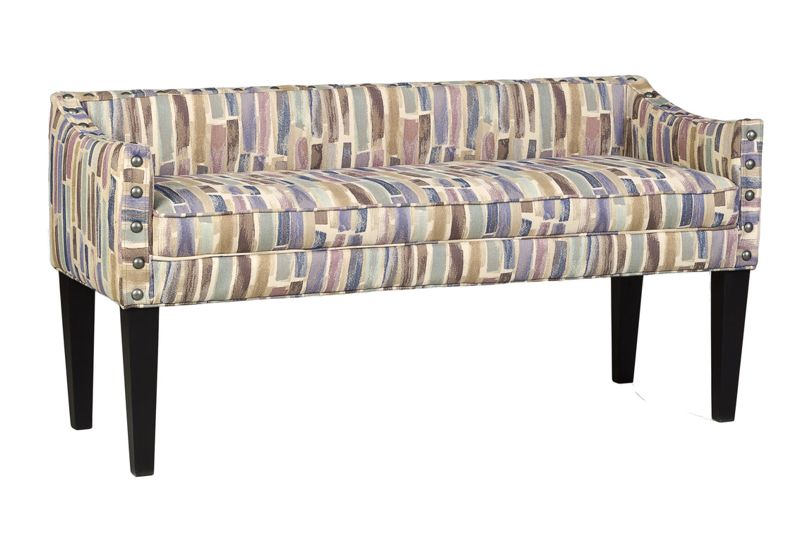 Upholstered Whitney Long Bench With Arms And Nailheads Trim In Paint Strokes Hydrangea