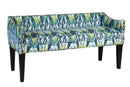 Load image into Gallery viewer, Upholstered Wooden Whitney Long Bench With Arms And Nailheads In Craz Blue