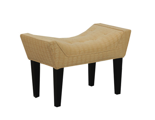 Modern Classic Maddie Button Tufted Seat Single Bench In Butter - Wooden Bench
