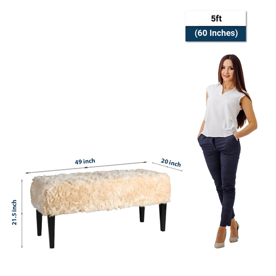 Upholstered Ella Faux Fur Bench - Modern Living Room - Mudroom Corner Bench