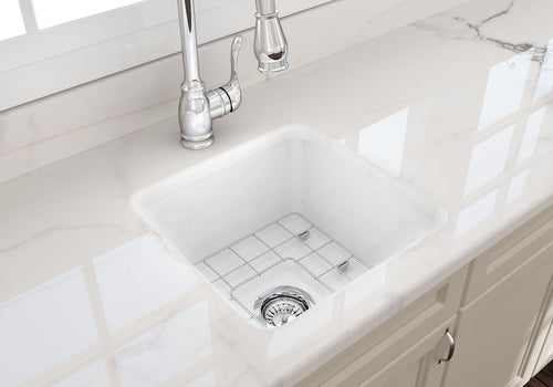 Sotto Undermount Fireclay Single Bowl Kitchen Sink with Protective Bottom Grid and Strainer