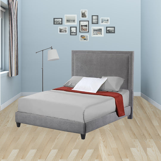 Brookside Queen Upholstered Bed with Nail Heads in Avignon Charcoal with Silver Nailhead